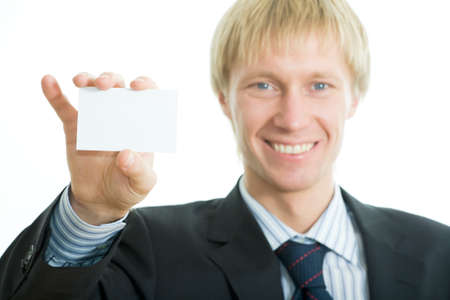 The businessman shows the card  photo