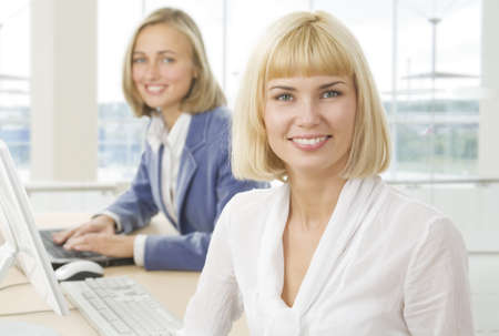 Portrait of confident businesswoman in working environment  photo