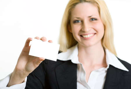 The business woman shows the card