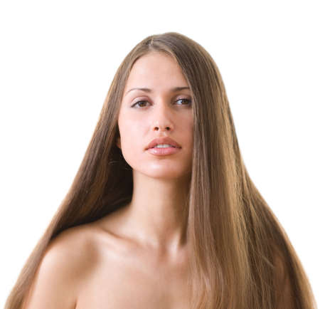 Beautiful young woman with luxuriant healthy long hair  photo