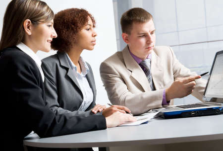 group discussion: Business people discussing in a meeting Stock Photo