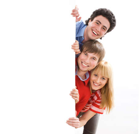 happy group of friends holding a banner Stock Photo - 6698709