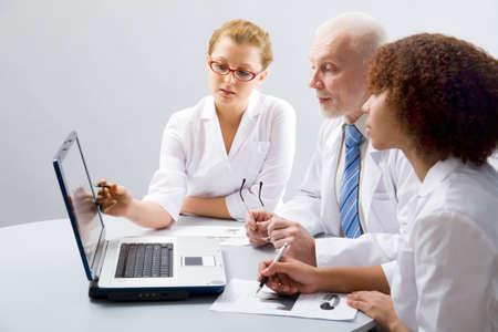 teaches: Doctor teaches a students Stock Photo