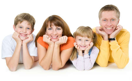 Happy family on a white background photo