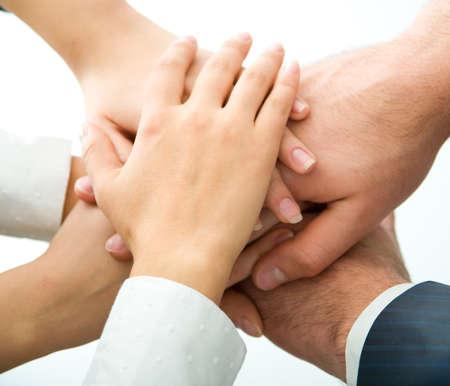 ciascuno: Mani sulla parte superiore di ogni altro.