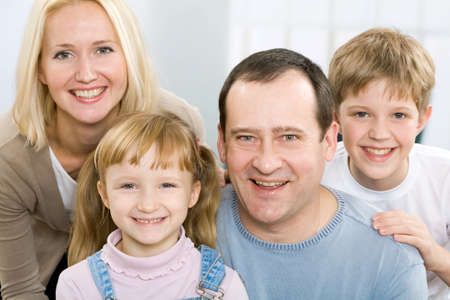 A portrait of a father, a mother, a son and a daughter Stock Photo - 9265187