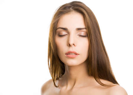 Beautiful woman with closed eyes  photo