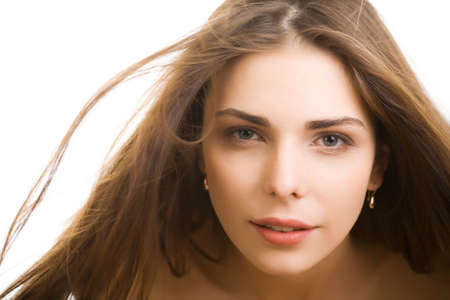 Front view of beauty and sexy woman with blown hairs  photo