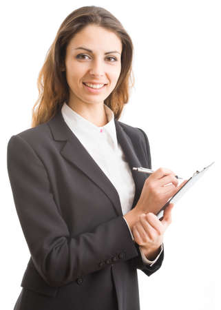 A portrait of a young business woman with a map case Stock Photo - 9335447