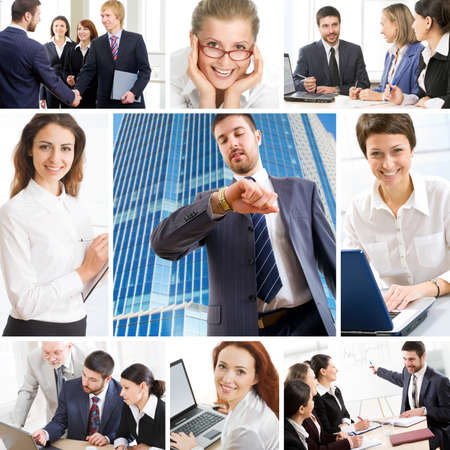 several: Collage illustrates finance, communication, interaction, business lifestyle
