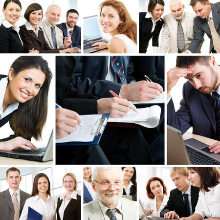 technology deal: Collage of business teams working together, education and partnership concepts