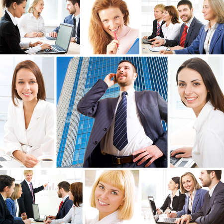 Collage illustrates finance, communication, interaction, business lifestyle photo