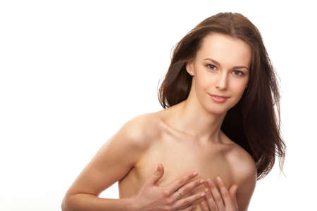 bared: Portrait of the beautiful woman with bared shoulders and long hair