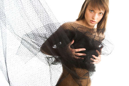 chear: The half-dressed beautiful woman with a transparent fabric