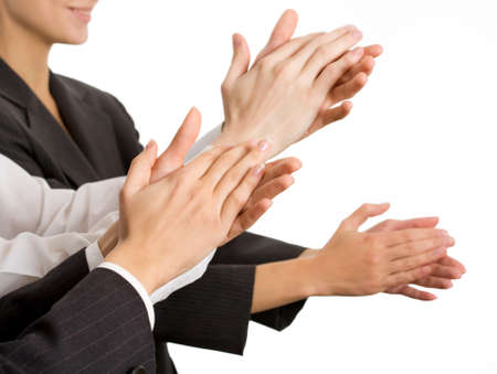 applaud: Business people hands applaud. The Close up Stock Photo