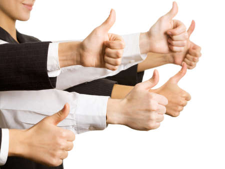 business metaphor: Businesspeople hands showing okay sign  Stock Photo