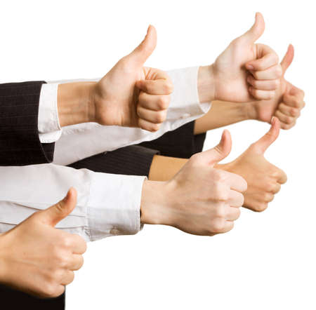 thumbs up group: Mani di uomini d'affari mostrando segno ok
