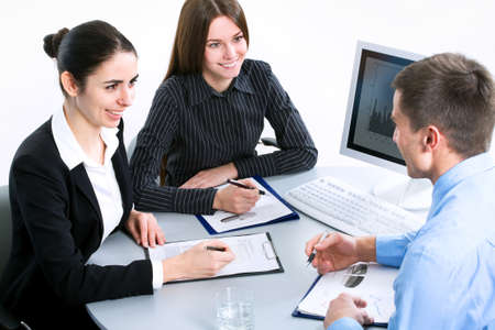 Image of business people during teamwork  photo
