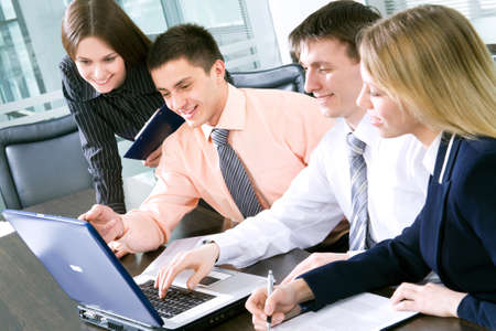 office environment: Business team at a meeting in a  modern office environment