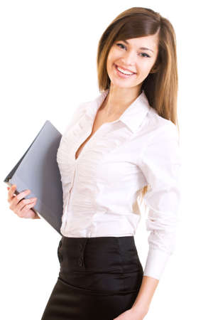 see side: Portrait of a young attractive business woman. Stock Photo