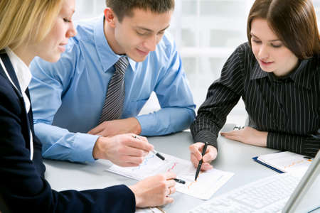 financial planner: Young business people are working in the meeting room.