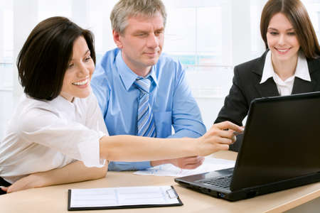 financial planner: Businesswoman explaining a new project to colleagues