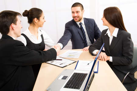 Shaking hands of two business people Stock Photo - 10672320