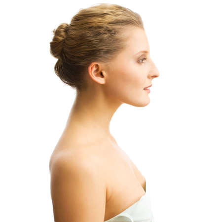 visage femme profil: Image avec belle fille sur fond blanc Banque d'images