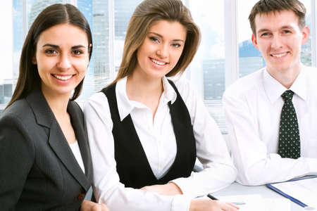 businessmeeting: Businesspeople working at modern office Stock Photo