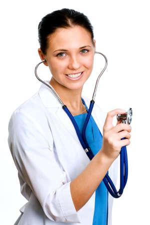 Femme médecin tenue stéthoscope.