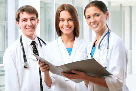young male doctor: Team of doctors at a hospital