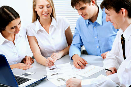 Business colleagues discussing a new project Stock Photo - 12150817