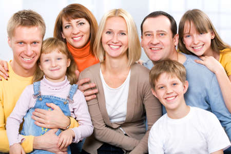 Happy large family  looking at camera Stock Photo - 12150856
