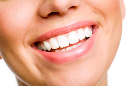 sweet tooth: Laughing woman smile with great teeth.   Stock Photo