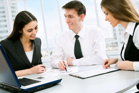 businessmeeting: Group of business people in the office Stock Photo
