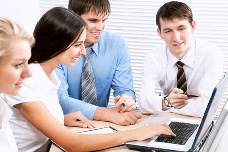 businessteam: Image of business people discussing plan at meeting Stock Photo