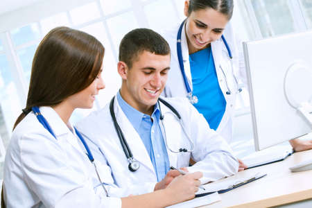 clinical staff: Medical team working in hospital Stock Photo