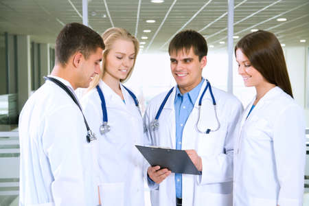 clinical staff: Young doctors working in hospital Stock Photo