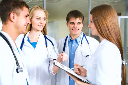 medical building: Young doctors working in hospital Stock Photo