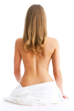Portrait of the beautiful naked woman back, isolated on white