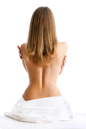 nude woman back: Portrait of the beautiful naked woman back, isolated on white