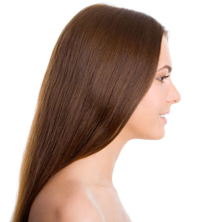 Profile beautiful woman with long brown hair, isolated on white background Stock Photo - 13462007
