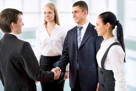 Handshake business people before the meeting photo