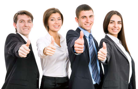 business woman standing: Group of happy business people giving the thumbs-up sign
