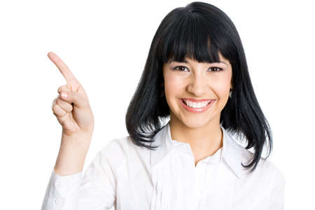 Business woman showing with hand on white space. photo