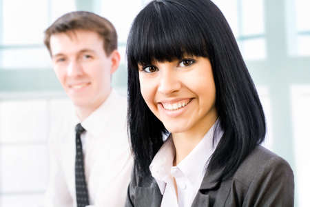 collegue: Young business woman with her collegue