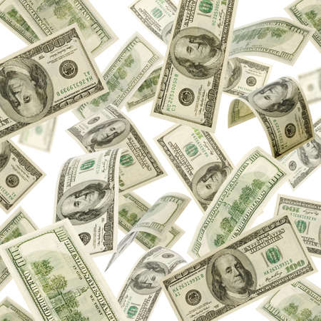 abundance money: US Dollars falling from above isolated on white