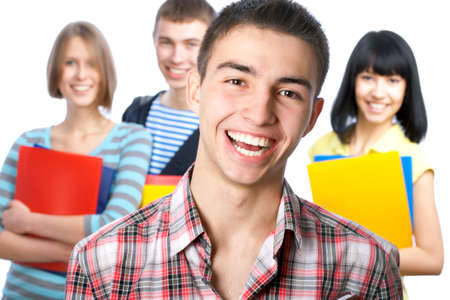 Portrait of a happy student and his friends Stock Photo - 13622922