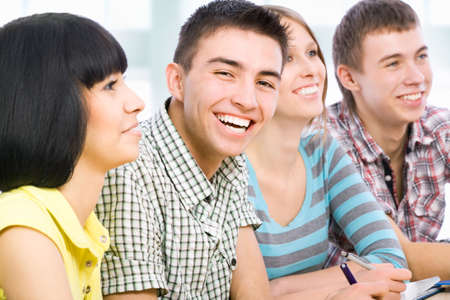 diversity children: Portrait of a happy student and his friends