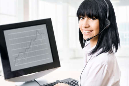 personal call: Business customer service woman - smiling in an office